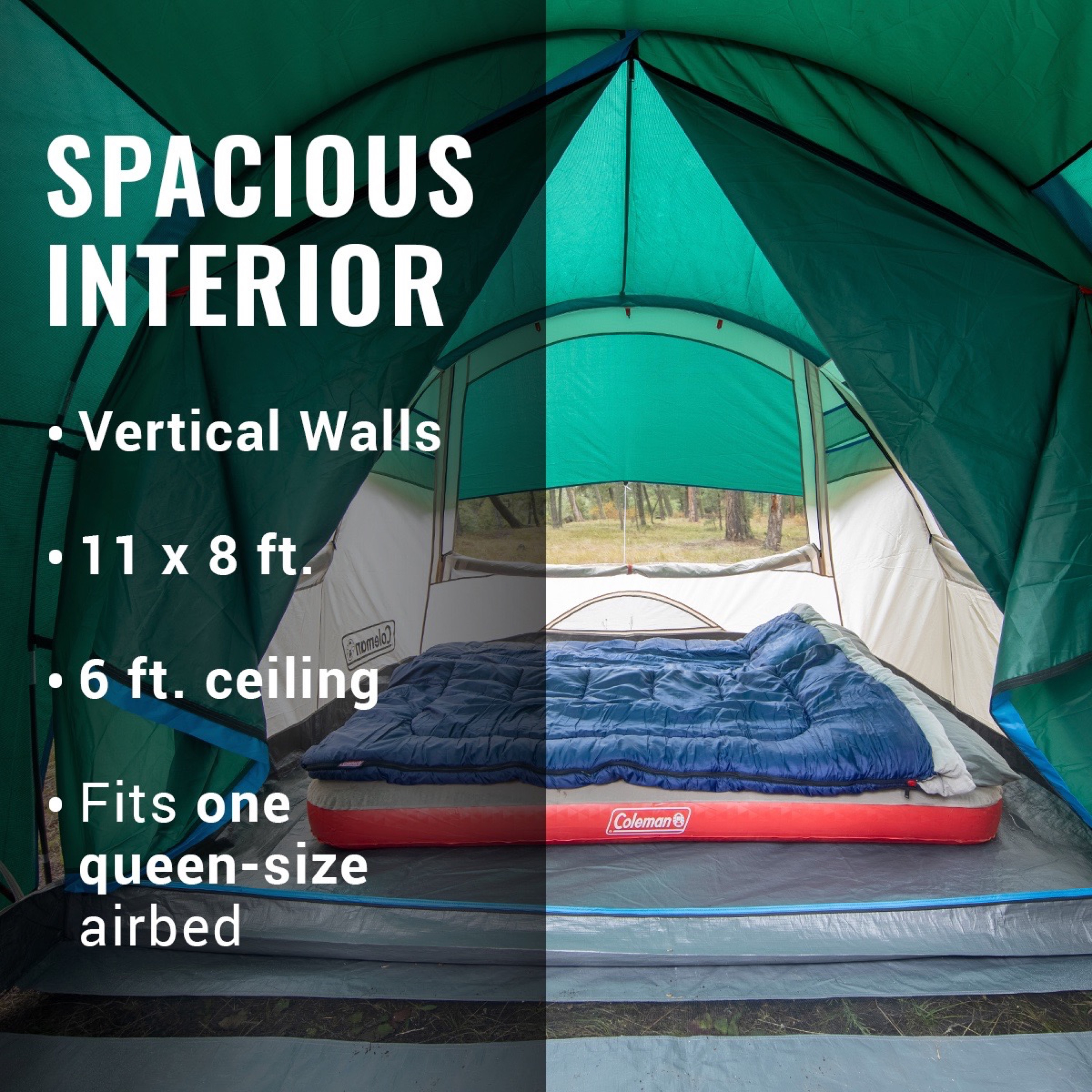 Buy Coleman 4 Person Cabin Tent With Screened Porch 2 Rooms Green Online In Taiwan 487765828