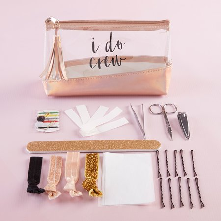 I Do Crew Clear & Rose Gold Bag Survival Kit Kate Aspen's I Do Crew Survival Kit is the top  she-mergency  kit for brides! Obviously, you've started shopping for clothes, but have you shopped for your emergency beauty kit? This kit has everything you'll need for an  OOPS  moment. And guess what? It's super cute! The rose gold, black, and pink tones make for a fashionable travel kit. If you're the bride-to-be and are looking for a fab gift to spoil your bridesmaids with, this is it! Weddings are a time when everyone wants to spoil you and you want to spoil those that make this momentous occasion a huge success. These survival kits will not disappoint as a fabulous bridesmaid gift.Features and Facts:1 vinyl makeup bag, 1 nail clippers, 1 tweezers, 1 scissors, 1 nail file, 4 hair ties, bobby pins, paper clothing tape, oil absorbing wipes, 1 sewing kitClear vinyl makeup bag with rose gold pleather base and rose gold accent hardware. Front of bag features black decal  I Do Crew.  Zipper has rose gold pleather tassel attached. Survival kit includes: manicure set with nail clippers, tweezers, and scissors, gold glitter nail file, 4 hair ties (gold glitter, metallic rose gold, blush pink, & black), bobby pins, paper clothing tape, oil absorbing wipes, and sewing kit.Measurements: Hairties: 2.4  w x 0.6  d x 1.6  hMeasurements: Sewing Kit: 2.2  w x 1.3  d x 1.3  hMeasurements: Nail Clippers: 0.394  w x 2.17  d x 0.39  hMeasurements: Scissors: 3.43  w x 1.73  d x 0.039  hMeasurements: Tweezers: 3.39  w x 0.2  d x 0.2  hMeasurements: Nail File: 7.1  w x 0.8  d x 0.4  hMeasurements: Face Wipes: 3.7  w x 2.6  d x 0.2  hMeasurements: Clothing Tape: 3.6  w x 1.4  d x 0.5  hMeasurements: Bobby Pins: 3  w x 1  d x 0.1  hMeasurements: Case: 7.9  w x 2.6  d x 11  hPackaged Measurements: 6.89  w x 2.5  d x 4.72  h