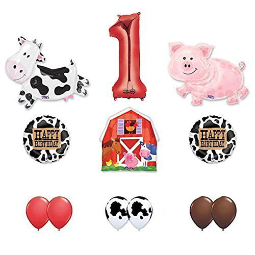 Barn Farm Animals 1st Birthday Party Supplies Cow, Pig, Barn Balloon Decorations by