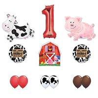 Barn Farm Animals 1st Birthday Party Supplies Cow, Pig, Barn Balloon Decorations
