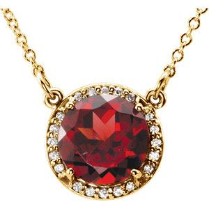 14K Yellow Mozambique Garnet and .04 CTW Diamond Necklace by