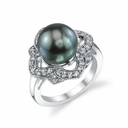 10mm Tahitian South Sea Cultured Pearl & Crystal June Ring 10 Mm Pearl Ring