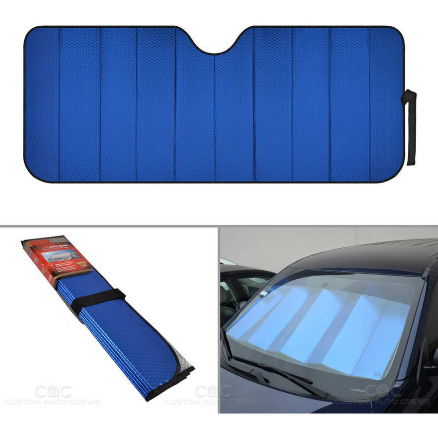 Motor Trend Front Windshield Sunshade, Blue Accordion Folding Auto Shade for Car Truck SUV 2 Size