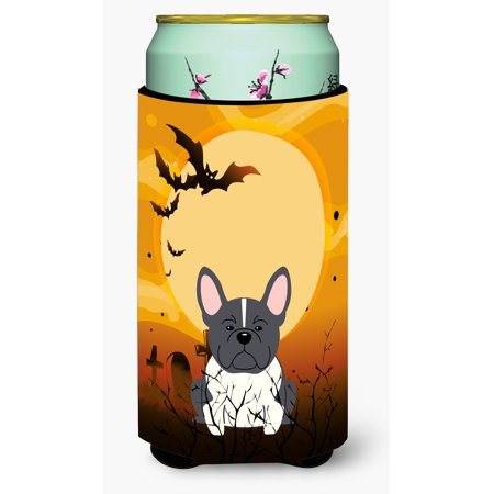 Halloween French Bulldog Black White Tall Boy Beverage Insulator Hugger - Anti Halloween France