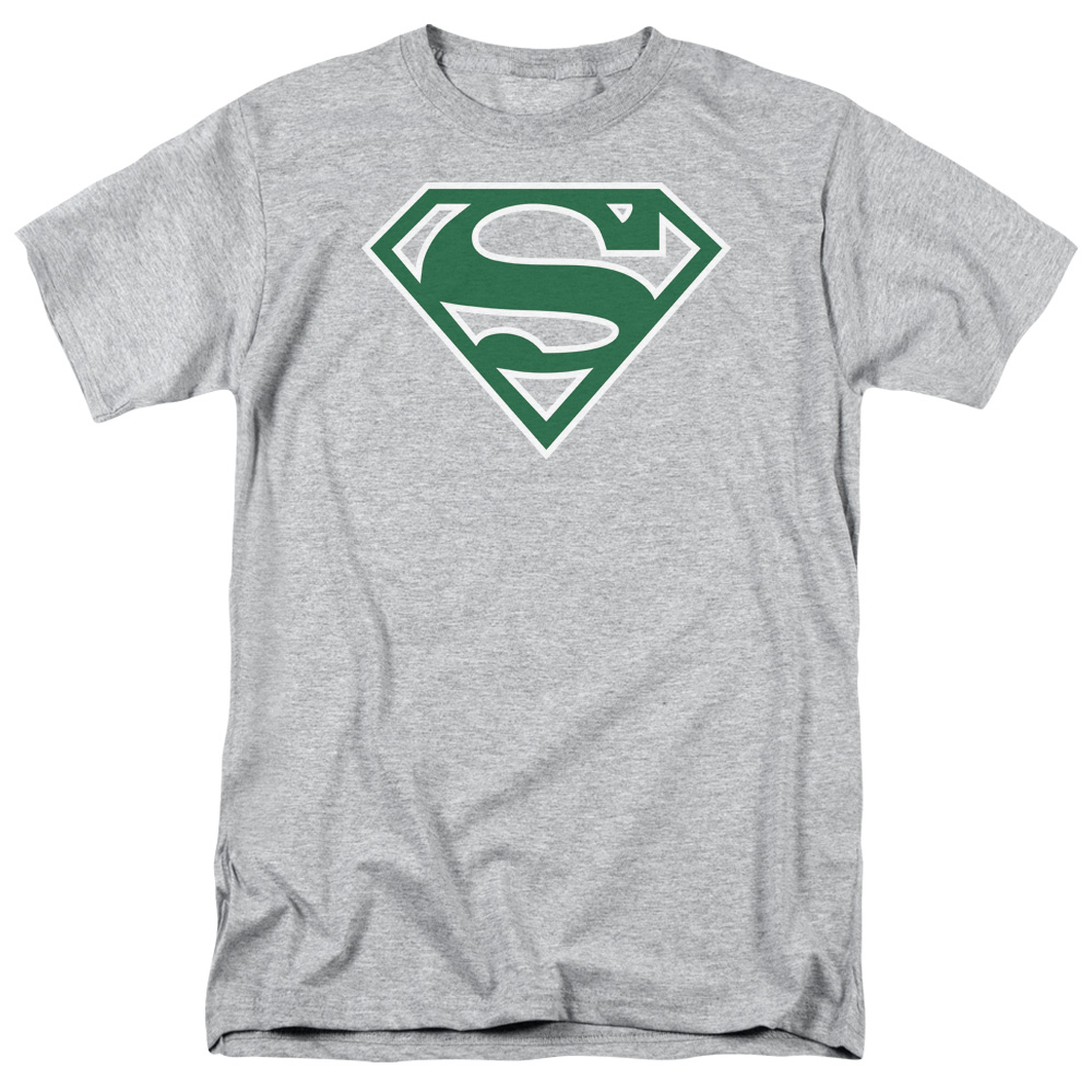 SUPERMAN/GREEN & WHITE SHIELD - S/S ADULT 18/1 - HEATHER - XL