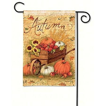Meigar Autumn Pumpkin Cart Garden Flags 12.5