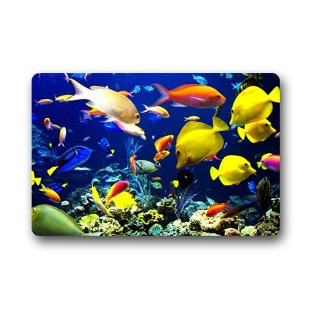RYLABLUE Colorful Coral Reef Fish Doormat Floor Mats Rugs Outdoors/Indoor Doormat Size 23.6x15.7 inches - image 1 of 1