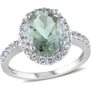2-7/8 Carat T.G.W. Green Amethyst and Created White Sapphire 10kt White Gold Halo Cocktail Ring