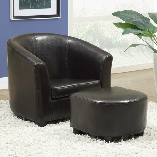 Monarch Faux Leather Juvenile Chair and Ottoman 2 Piece Set - Dark Brown
