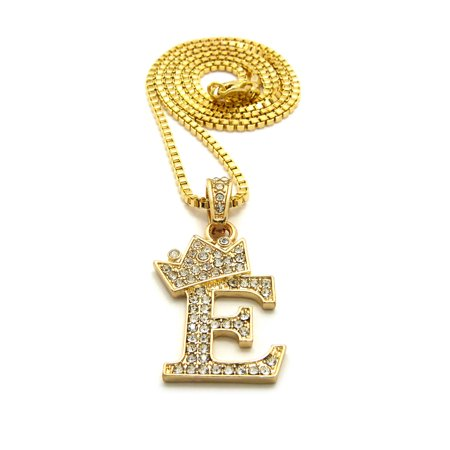 Unisex Stone Stud Tilted Crown Letter Initial Micro Pendant 2mm Box Chain Necklace, 20