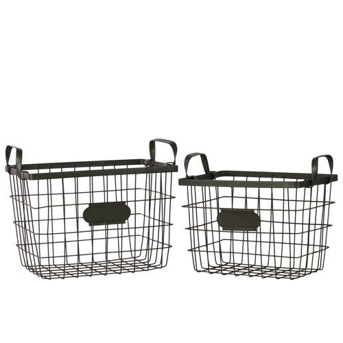 Urban Trends Metal Wire Basket with Mesh Sides, Handles and Card Holders Set of Two Black