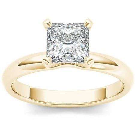 1 Carat T.W. Diamond Princess-Cut Solitaire 14kt Yellow Gold Engagement Ring