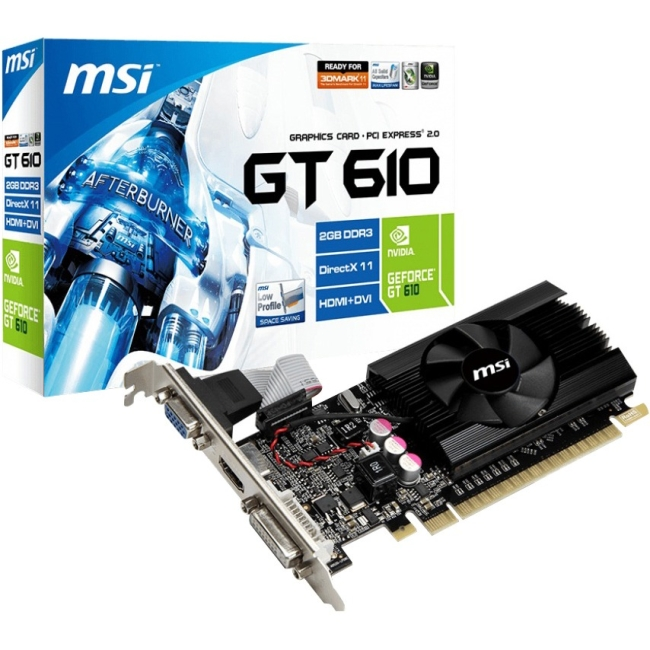 MSI N610GT-MD2GD3/LP GeForce GT 610 Graphic Card - 810 MHz Core - 2 GB DDR3 SDRAM - PCI Express 2.0 x16 - Low-profile -