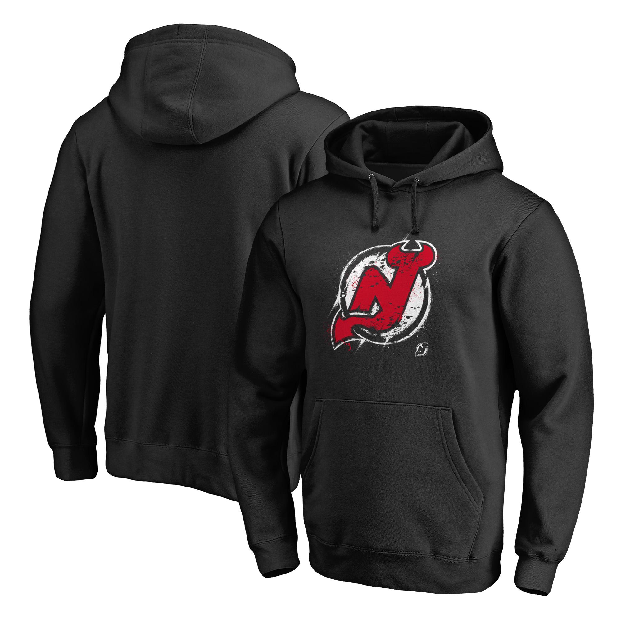 New Jersey Devils Fanatics Branded Splatter Logo Pullover Hoodie - Black