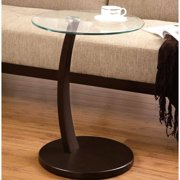 A Line Furniture Cappuccino Round Wood Accent Table with Glass Top
