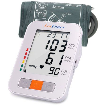 Upper Arm Blood Pressure Monitor,Digital BP Machine, 2 User Mode, 4 Inch LCD,180-Readings,Medium Cuff (9-13 in)