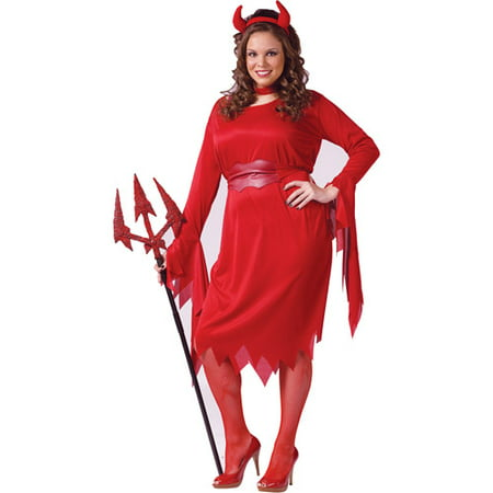 Delightful Devil Plus Size Adult Halloween Costume - Makeup Halloween Devil