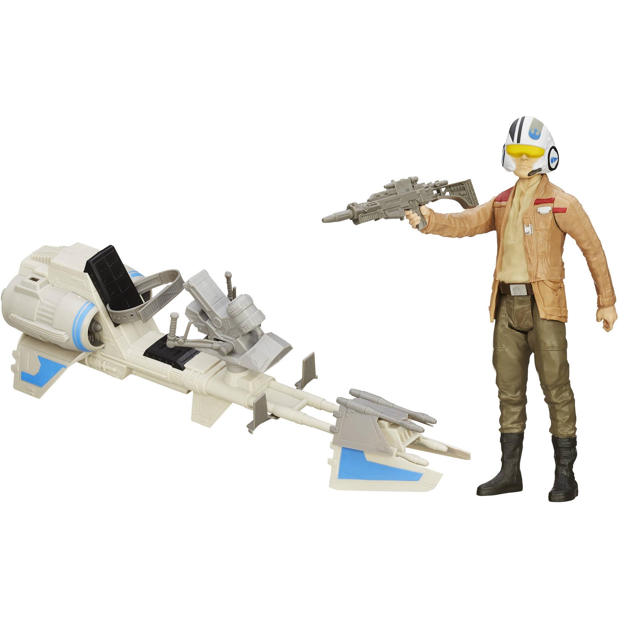 Star Wars The Force Awakens Speeder Bike and Poe Dameron