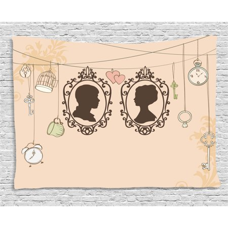 Wedding Decorations Tapestry, Vintage Silhouette Frames Married Couple French Style Design, Wall Hanging for Bedroom Living Room Dorm Decor, 60W X 40L Inches, Light Pink Dark Brown, by Ambesonne (French Decorations)