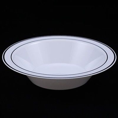 - Exquisite Wedding & Party Dinnerware, Disposable Plastic Soup Bowls (14 Oz) - White with Silver Rim - 40 Pack