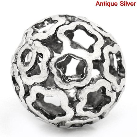 Sexy Sparkles 2 Pcs Round Flower Pattern Hollow Spacer Bead Silver Tone 24mm Hole: Approx 3...