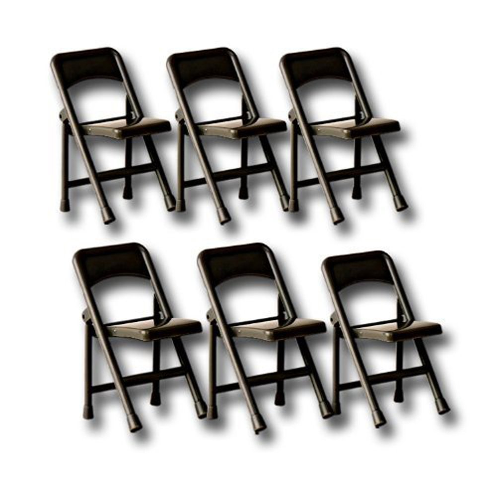 Set of 6 Plastic Black Toy Folding Chairs for WWE Wrestling Action Figures