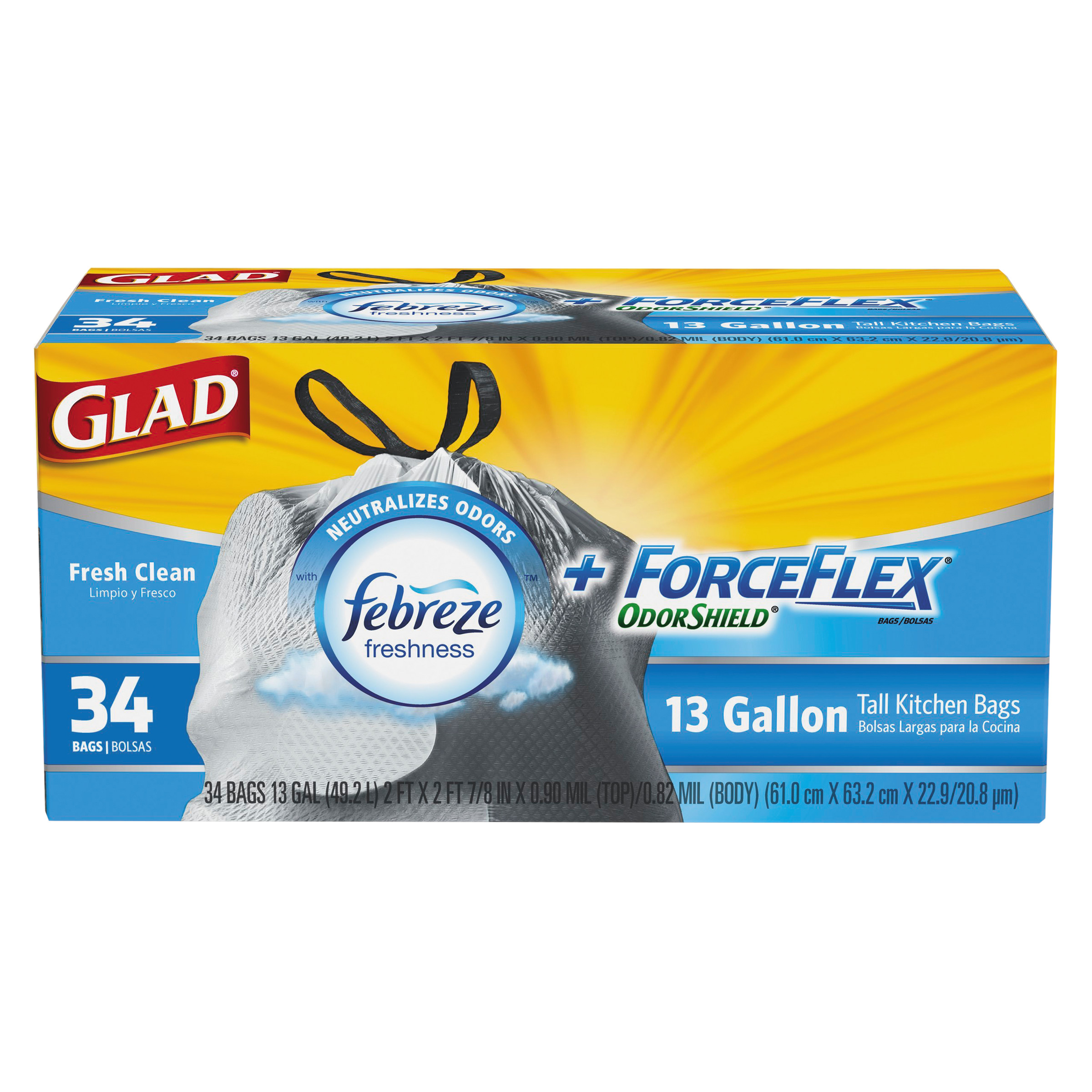 Glad ForceFlex OdorShield Drawstring Tall Kitchen Trash Bags, Fresh Clean, 13 Gallon, 34 Count
