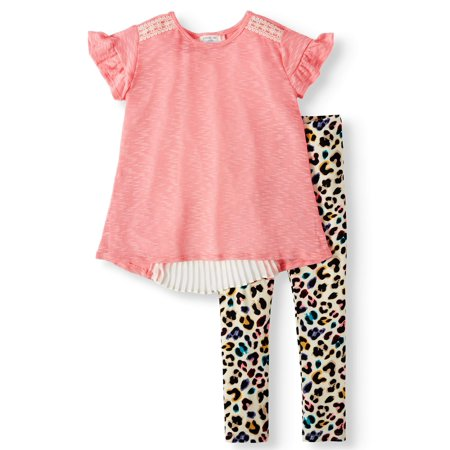 School Girl Outfit (Forever Me Girls' Ruffle Sleeve, Pleat Back Top and Animal Print Legging, 2-Piece Outfit Set (Little Girls & Big)