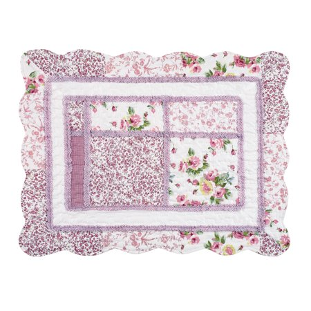 Floral Scallop - Patchwork Classic Floral Pillow Sham with Scalloped Border, Sham, Rose