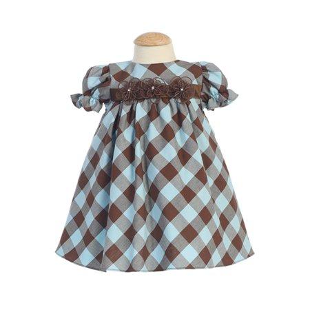 3c54ecca2 Lito - Lito Brown and Blue Gingham Check Baby Dress-3-6M - Walmart.com