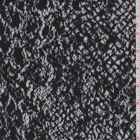 Black/White Snakeskin Jacquard Knit, Fabric Sold By the Yard