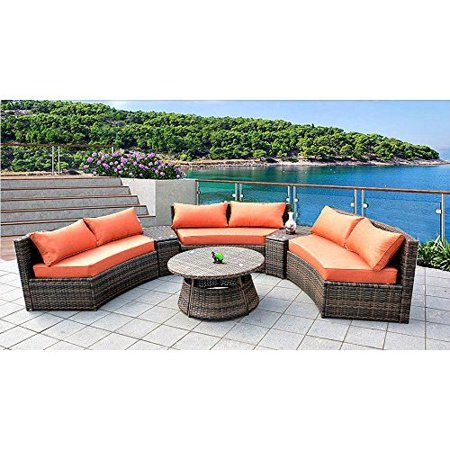 6 Seat Curved Outdoor Sofa 9 Feet 3 Pc Sectional Patio Furniture Set, Resin  Wicker Rattan 3 Sofa Lounges, 3 Tables, 9 Sunbrella Cushions Model ...