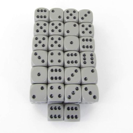 Bulk Dice (Dark Grey Opaque Dice with Black Pips D6 12mm (1/2in) Bulk Pack of 50)