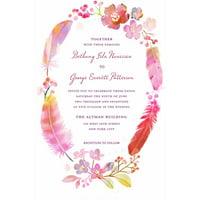 Watercolor Feather Standard Wedding Invitation