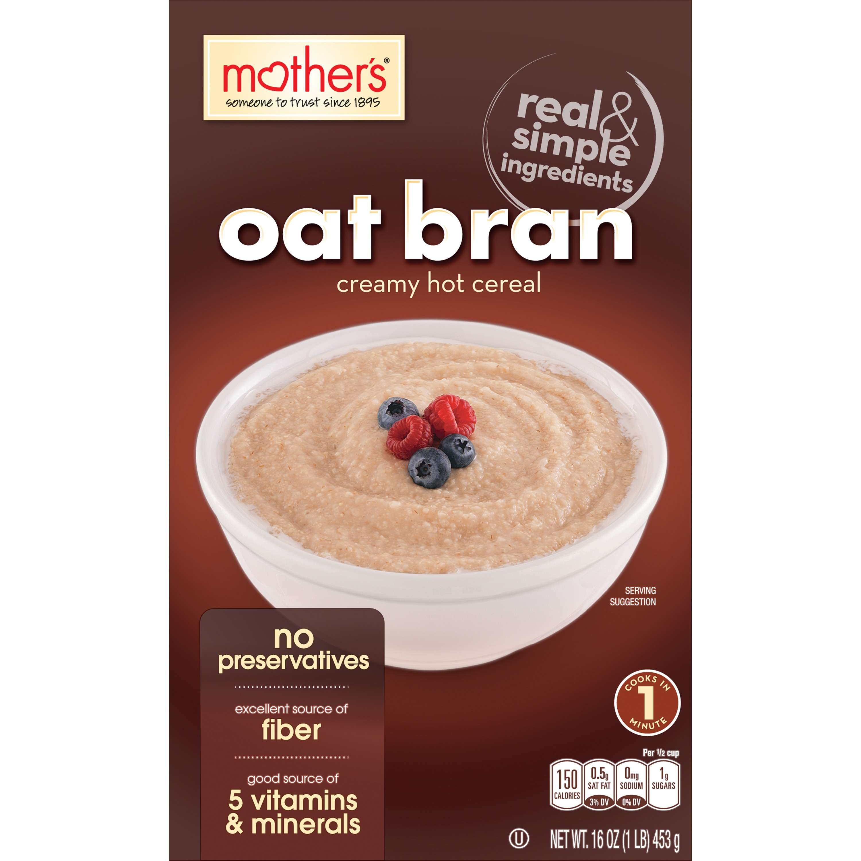Mother's Oat Bran Creamy Hot Cereal, 16 Oz