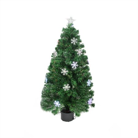 Fiber Optic Christmas Tree.3 Pre Lit Color Changing Fiber Optic Christmas Tree With Snowflakes