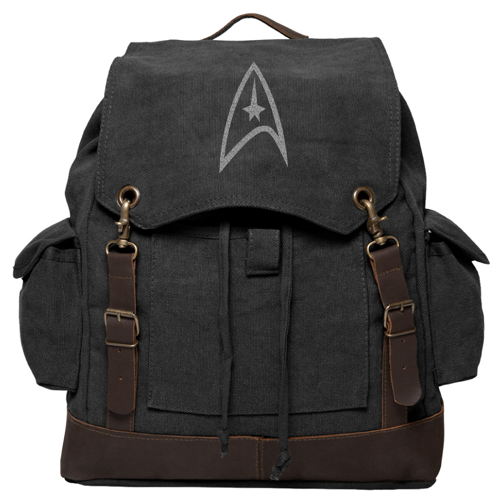 Star Trek Federation Vintage Canvas Rucksack Backpack with Leather Straps