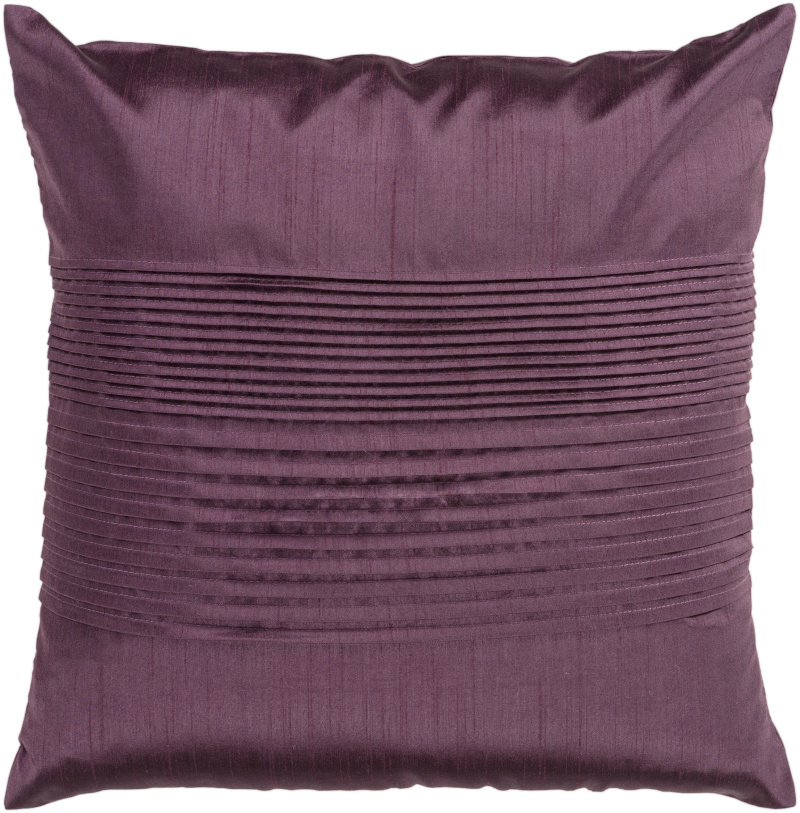 "18"" Prune Purple Tuxedo Pleats Decorative Throw Pillow"