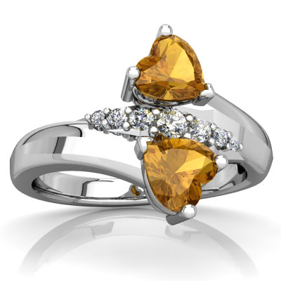 Citrine Heart to Heart Bypass Ring in 14K White Gold by