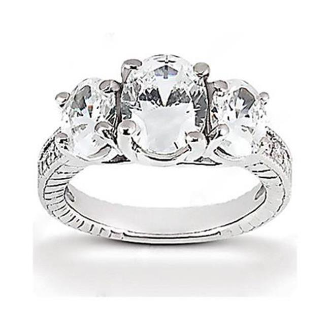 Harry Chad Enterprises HC12097-6 2.31 CT Three Stone Wedding Diamond F VS1-VS2 Ring - 14K White Gold - Size 6 - image 1 de 1