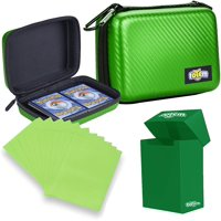 Totem World Card Case with Deck Box Protector and 100 Card Sleeves - Compatible with Pokemon, Yu-Gi-Oh, and Magic The Gathering Cards - Kid Safe Zipper Carrying Organizer - 500 Card Holder (Green)