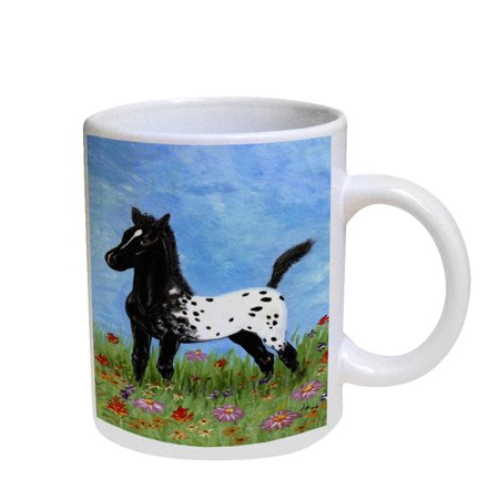 KuzmarK Coffee Cup Mug Pearl Iridescent White - Black Blanket Appaloosa Foal with Wildflowers Horse Art by Denise - Coffee Mother Of Pearl