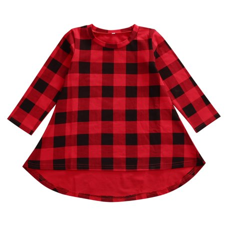 Little Girls Baby Girls Long Sleeve Lovely Red And Black Plaid Skirt Simple Casual Dress Top Sundress Boho Dress - Girls Plaid Dress
