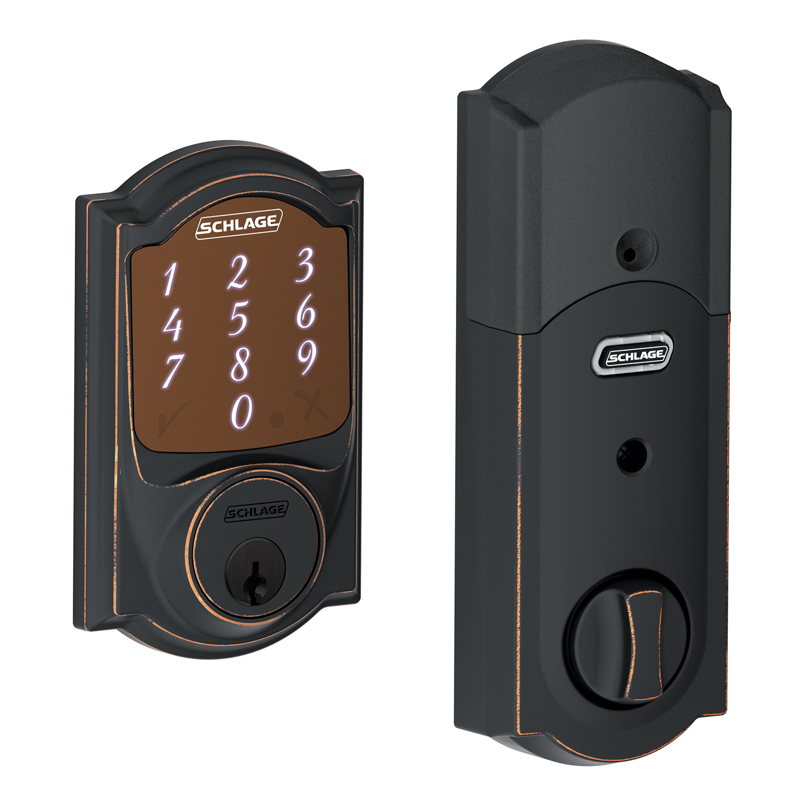 Schlage BE479AACAM716 Aged Bronze Sense™ Smart Deadbolt With Camelot Trim