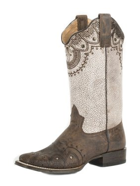 0430f41232e0 Product Image Roper Western Boot Womens Burnished Laser Stud Tan  09-021-7022-1422 TA