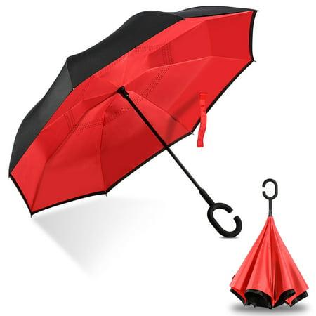 Yosoo Inverted Double Layer Windproof UV Protection Reverse folding Rain Umbrellas,Inverted Double Layer Windproof UV Protection Reverse folding Rain Umbrellas for Men and