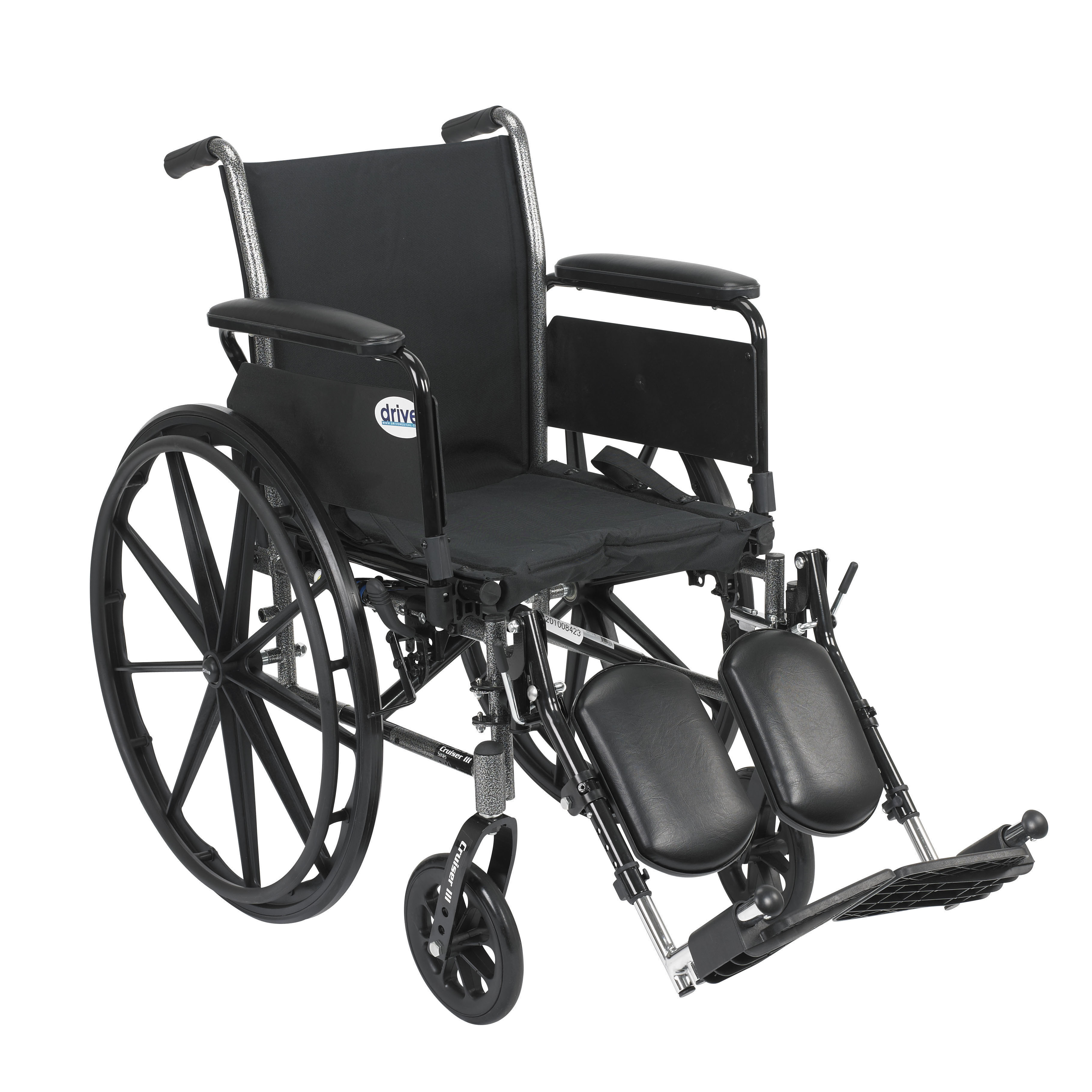 "Drive Medical Cruiser III Light Weight Wheelchair with Flip Back Removable Arms, Full Arms, Elevating Leg Rests, 20"" Seat"