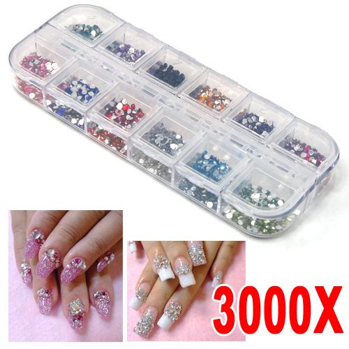 Yaheetech 3000pcs Nail Art Rhinestones Decoration DIY for UV Acrylic Systems
