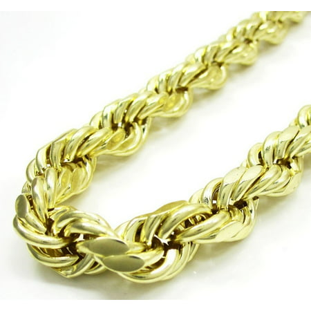 10K Yellow Gold Men Women's 6MM Diamond Cut Rope Chain Pendent Necklace, 20