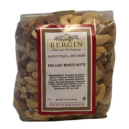 Bergin Nut Company Deluxe Mixed Nuts, Roasted & Salted, 16 Ounce (16 Ounce Mixer)
